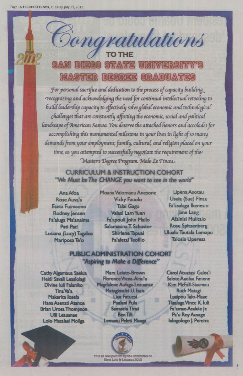 Samoa News paper article congratulating SDSU Master Degree Graduates, 7/31/2012